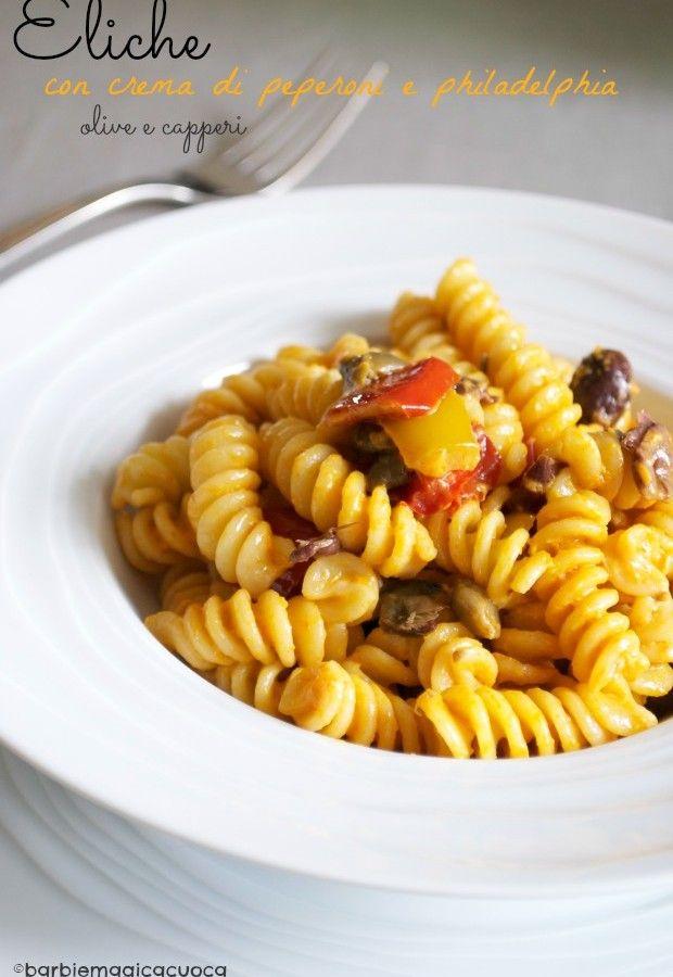 eliche alla crema di peperoni e philadelphia con olive e capperi