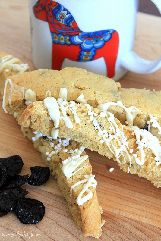 Cherry Almond White Chocolate Biscotti from Good Girl Style.