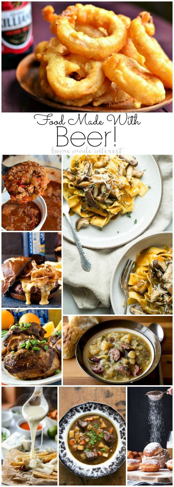 Recipes made with beer are great game day food, Oktoberfest parties or cozy…