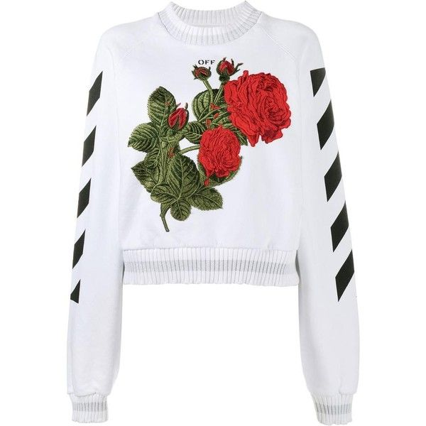 Off-White Off-White Rose-Embroidered Sweatshirt ($684) ❤ liked on Polyvore featuring tops, hoodies, sweatshirts, white, embroidered cotton top, embroidery top, white embroidered top, white sweatshirt and off white tops