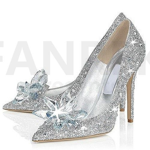 Disney Movie Cinderella 2015 Movie Lily Glass Slipper Silver Wedding Shoes