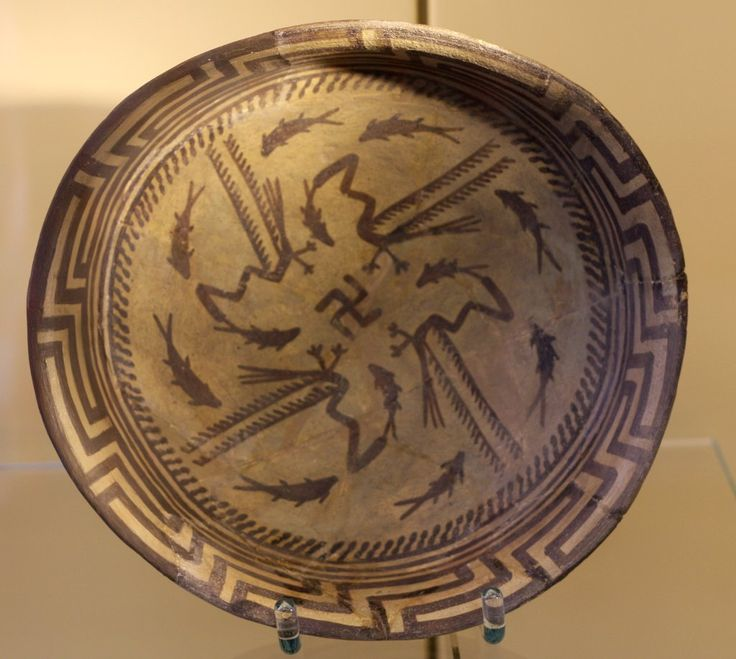 Sumerian Samarra bowl with swastika, fishes and hex division decoration on the edge, (4000BC), Pergamon Museum, Berlin.