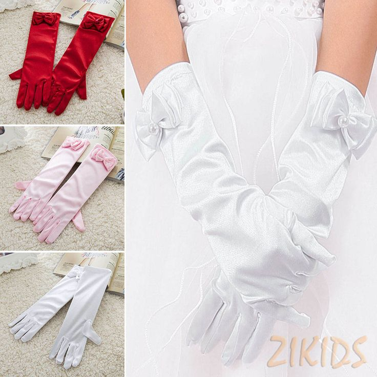 Long Style Satin Kids Girls Gloves for Party Wedding Performance Flowers Girl Bow Glove Baby Children Accessory 2016 Hot Sale