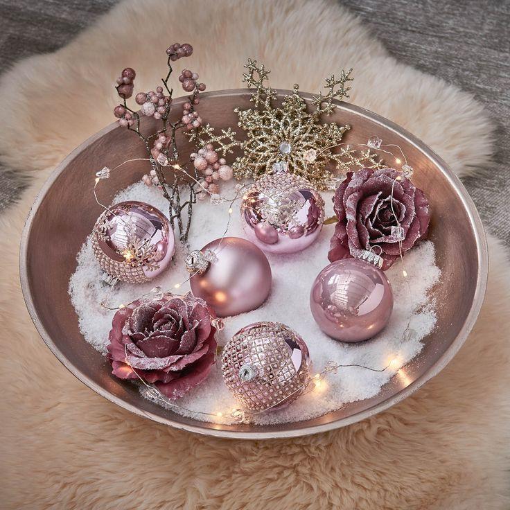 Christbaumschmuck Weihnachtskugeln Dekoschale Weihnachtsdekoidee Altrosa Christmas Wei Christmas Tree Decorations Christmas Balls Decorative Bowls