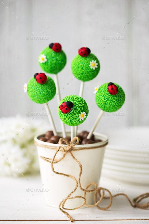 Ladybug cake pops - just a photo but super cute idea