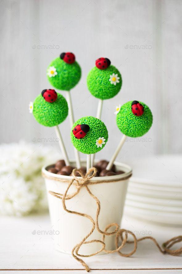 Ladybug cake pops - just a photo but super cute idea