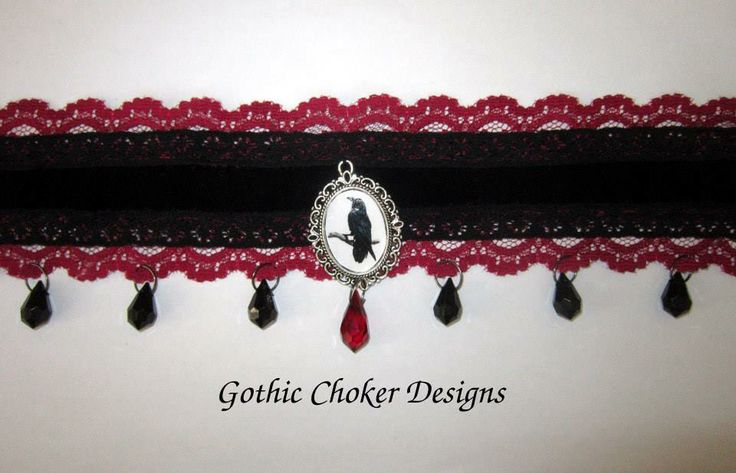 Gorgeous black and red raven cameo and crystals choker.  R180 approx $18 Purchase here: https://hellopretty.co.za/gothic-choker-designs/black-and-red-raven-choker