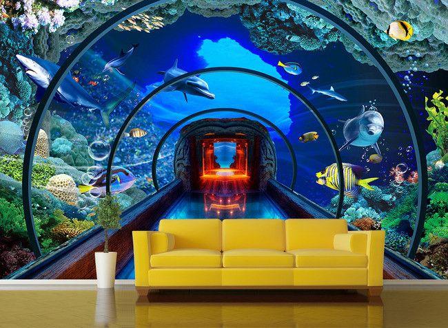 Extension d'espace - Paysage fond marin trompe l'œil effect 3D - Aquarium géant