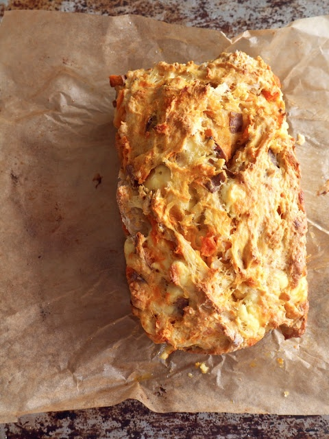 This savory sweet potato, chili, and feta loaf would be an excellent companion to a nice bowl of soup!