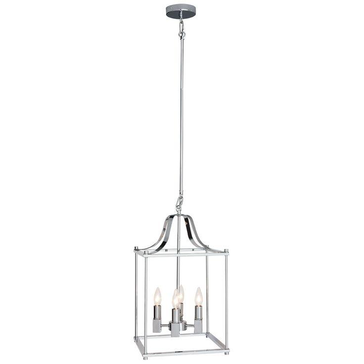 Suspension à 4 lumières au fini chrome. Hauteur ajustable de 42 po à 68 po. Utilise 4 ampoules à culot candélabre incandescentes  60 W max, fluocompactes 13-15 W ou DEL 10-12W (ampoules vendues séparément).