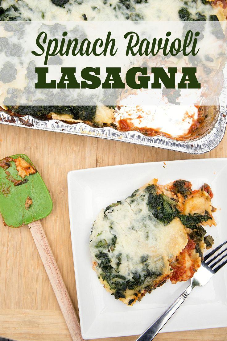Spinach Ravioli Lasagna is vegetarian and freezer friendly! | 5DollarDinners.com