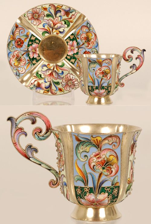 A Russian silver gilt and cloisonné enamel cup and saucer, Maria Semenova, Moscow, 1896-1908.