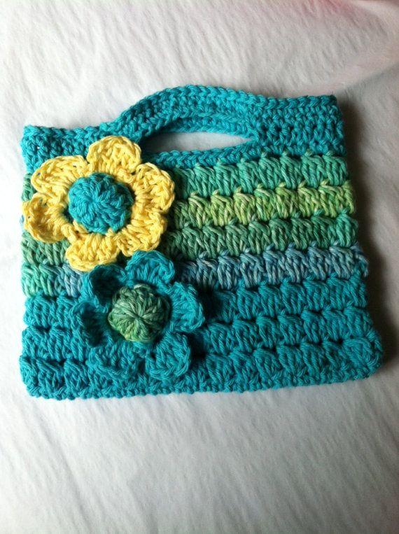 Child Purse, Crochet Child Purse with Flower, Crochet Purse, Summer P ...