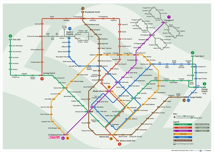 A map of the Singapore MRT (Mass Rapid Transit) system, to be completed by 2024