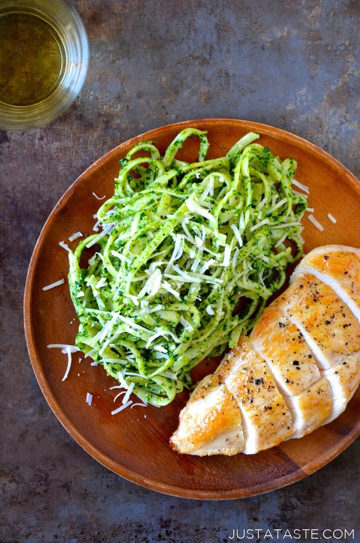 Pumpkin Seed Pesto Pasta with Chicken... try with zoodles instead of pasta!