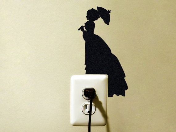 #lady #black #victorian #wall #decor #decal #parasol #vintage #romantic #fabric