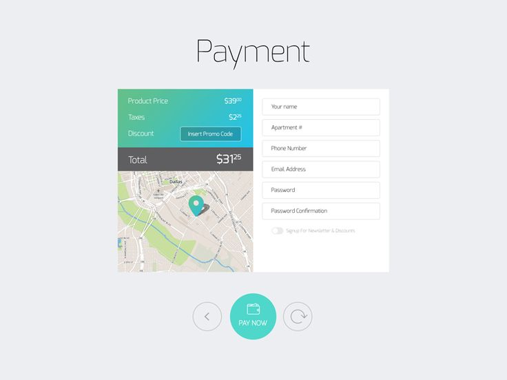 Payment screen with various elements, showing prices, input for promo code, map with pin, inputs for user's info and buttons on the bottom. done in resolution for tablet, but can be used for websit...