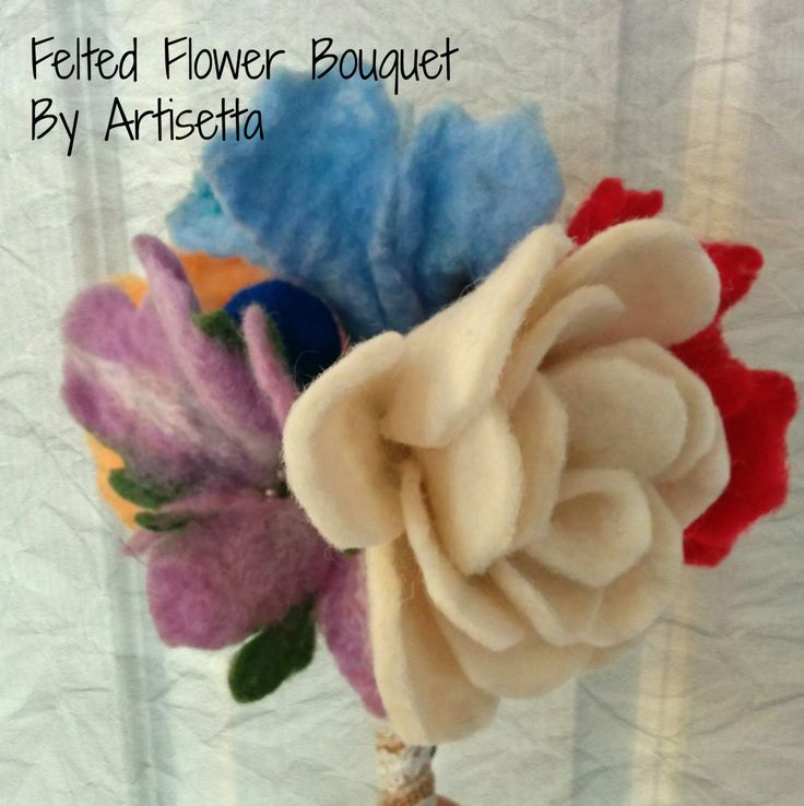 Felt Flower Bouquet - Mixed Colours - Wetfelted Flowers - Wedding Bouquet - Ready to Ship - Custom Orders by Artisetta on Etsy