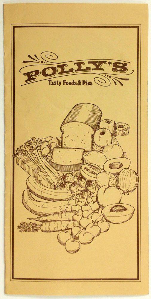 1980's Vintage Menu POLLY'S PIES Restaurant Cerritos Whittier Orange California