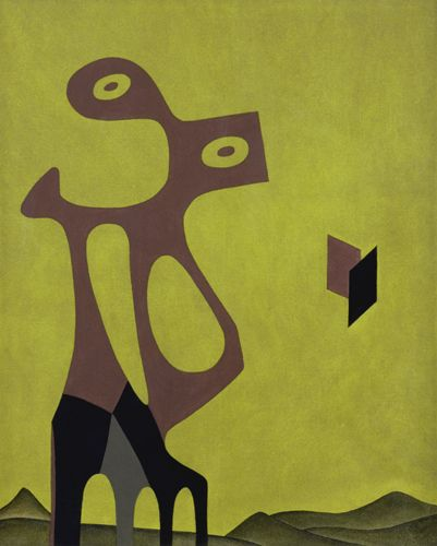 Monument to D' Aksanwae (opus LVII ) 1960 oil on canvas,60x50 cm.Collezione Saffaro Foundation,Bologna .