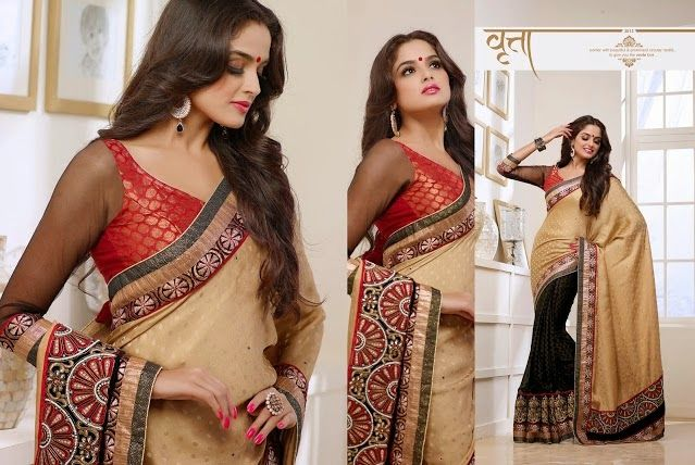 Superb Designer Party wear Black and Beige Netted Brasso Saree with Crushed Satin Silk Pallu and Contrast matching Netted Brocade Blouse. Heavy work en-crafted all over.