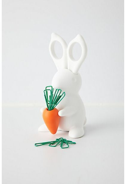 So cute! Scissor ears and a carrot with green paper clips. Contemporary desk accessories by Anthropologie