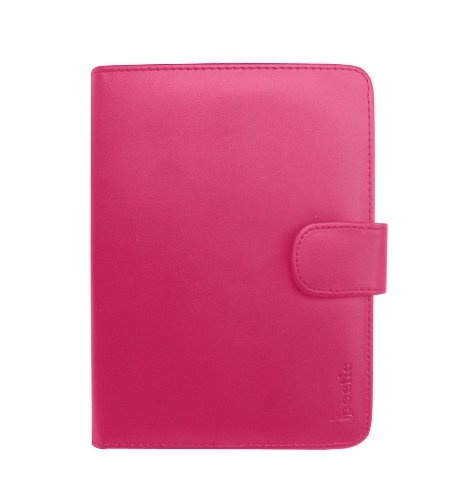 """Poetic (TM) PU Leather Folio Case for Latest Generation Amazon Kindle 4 Wi-Fi 6"""" E Ink Display (4th Generation 6"""" Kindle Wi-Fi w/o Keyboard, NON-TOUCH Version) Hot Pink"""