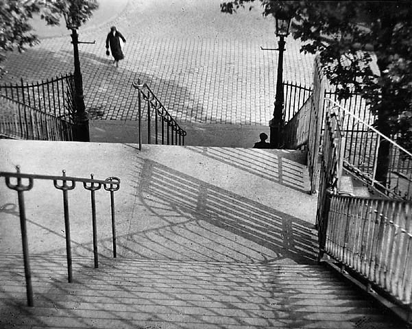 Photography by Andre Kertesz. Stairs of Montmarte, Paris. 1925.