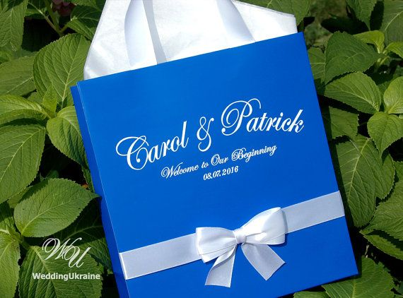 Royal Blue Wedding Welcome Bags With Satin Ribbon Bow And Names Custom Personalized Gift Paper Bag Favors