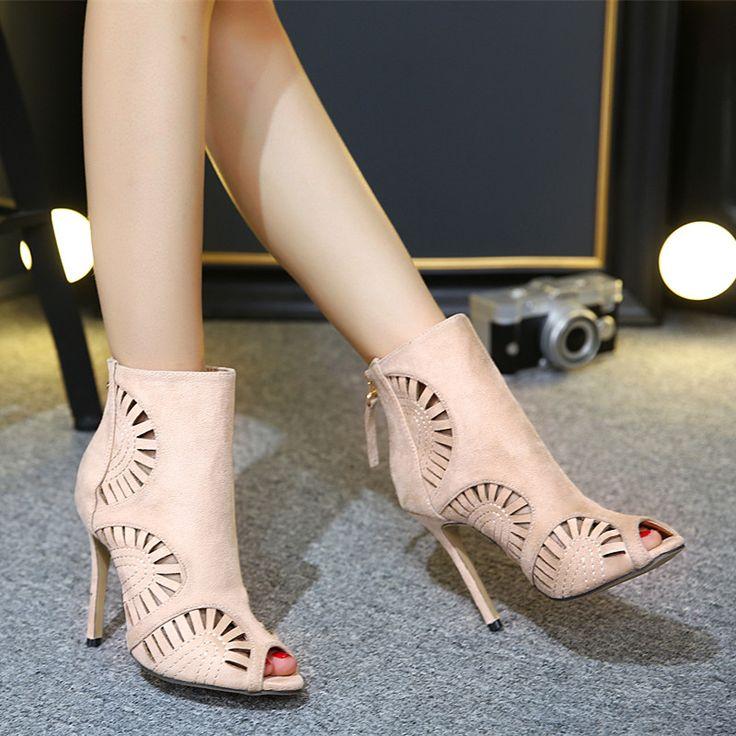 Bezpłatna wysyłek kobiet moda zamszowe wycinanka haftowane ultra cienkie obcasy wysokie obcasy buty(China (Mainland))