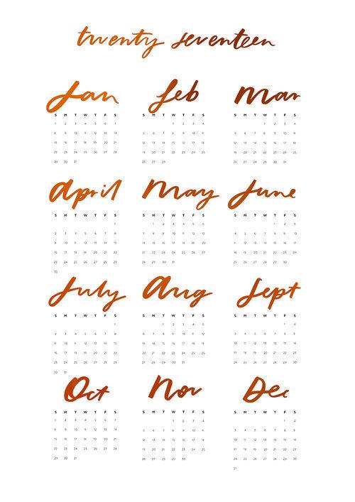 2017 Yearly Wall Calendar By Jasmine Dowling