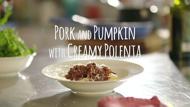 Meatballs in Tomato Sauce with Creamy Polenta