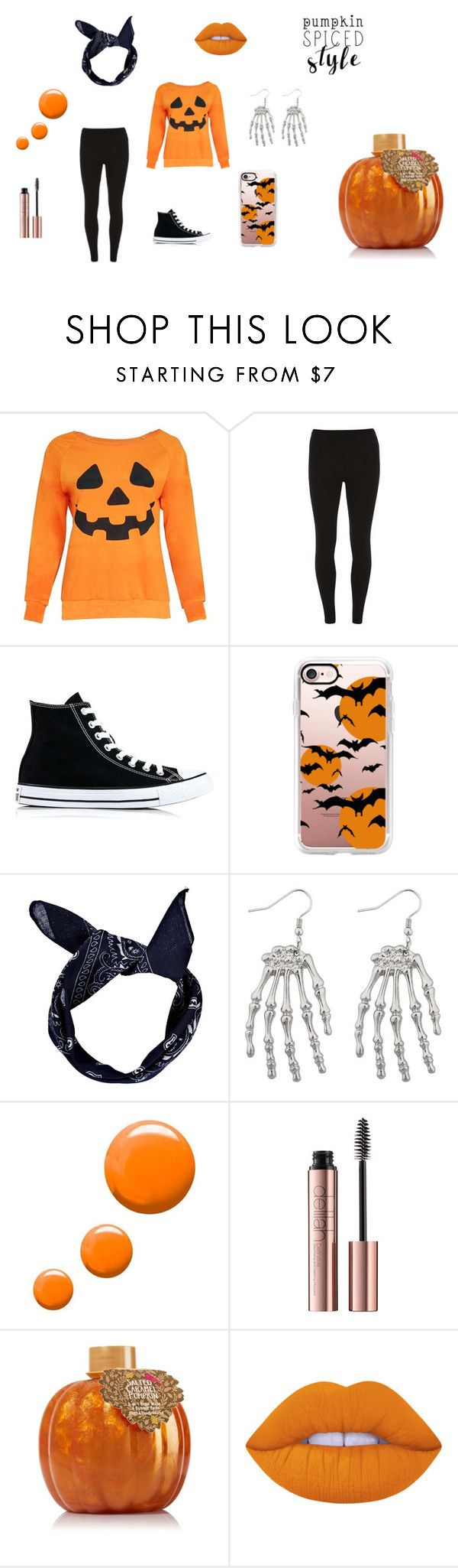 """pumpkin spiced style"" by iconeinconnu ❤ liked on Polyvore featuring Dorothy Perkins, Converse, Casetify, Boohoo, Topshop, Lime Crime, orange, pumpkin and bonbons"
