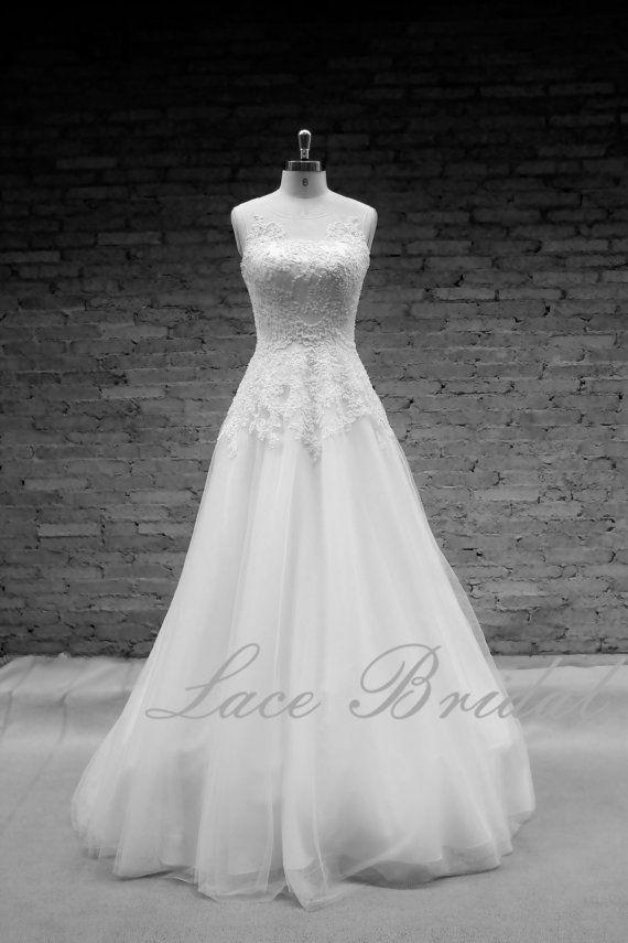CustomWedding robe, robe de mariée, robe de mariée a-ligne Simple, perles robe de mariée en dentelle