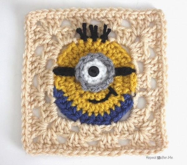 NEED THIS BLANKET!! minion crochet granny square free pattern from @repeatcrafterme