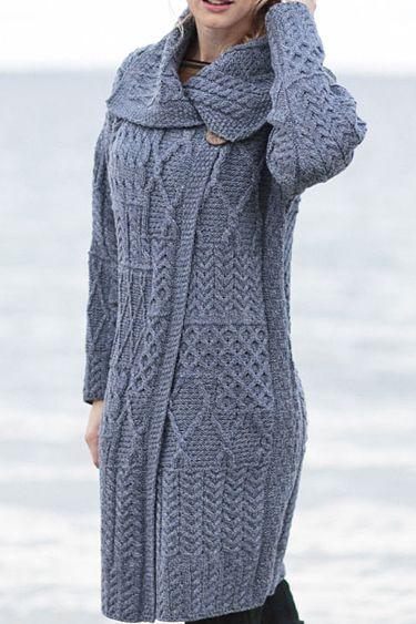 Carraig Donn Irish Aran Wool Sweater Womens Cable Knit Patchwork Long Cardigan Sweater