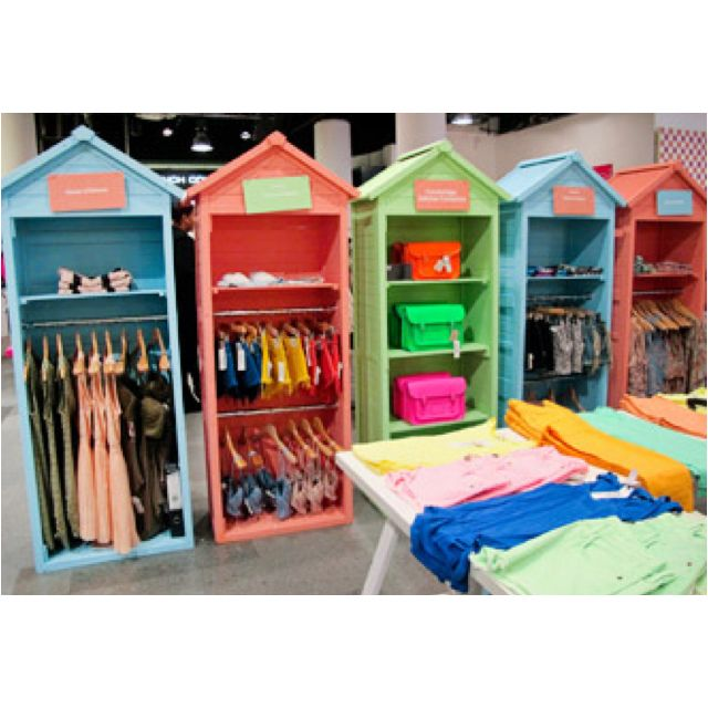 Beach Hut store display Image via Stylesight.  What a neat way to display clothing.  If you included a door.  They could be transported and stored without emptying the closet.  Making for easy set up/take down.