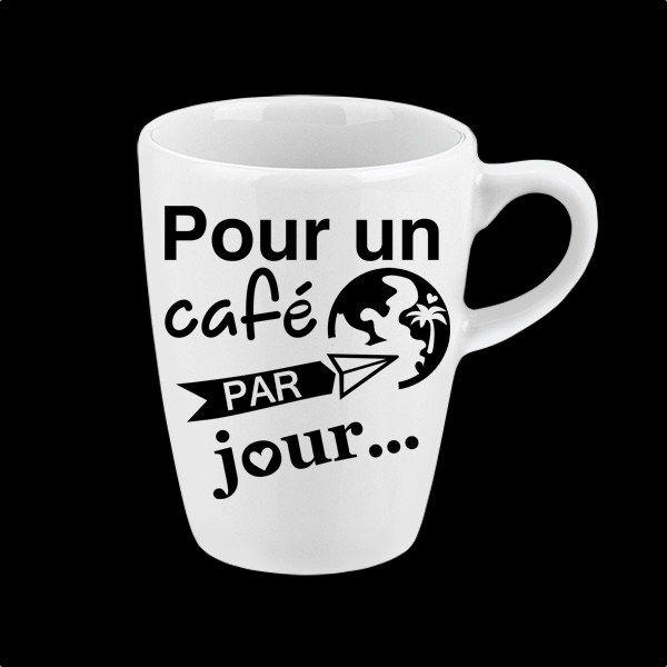 Autocollant pour tasse et bouteille d'eau réutilisable « Pour un café par jour...»