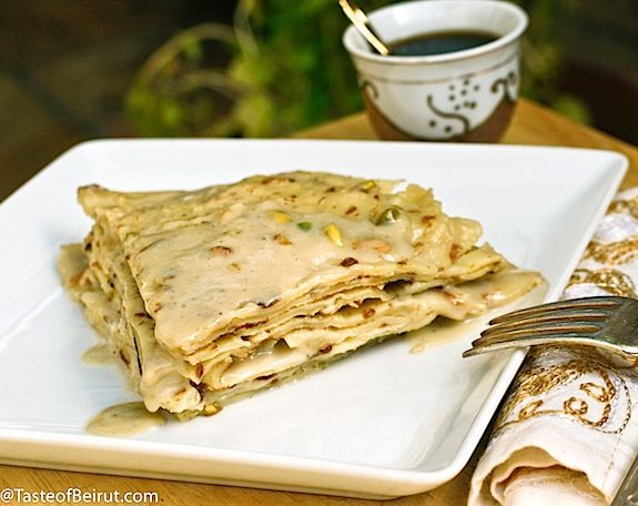 These crêpes are from an ancient recipe still being made in rural areas in Lebanon, according to Chef Ramzi's Culinary Heritage of Lebanon (in Rashaya, Rmeish, Akkar and West Bekaa).…