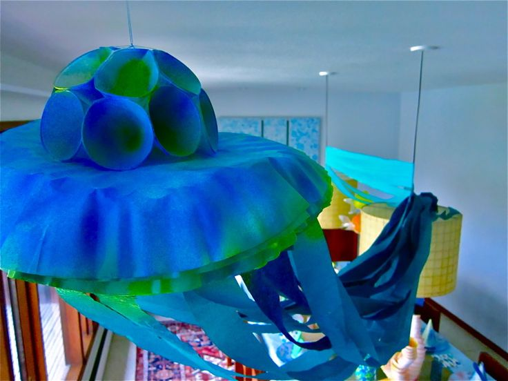 Jellyfish detail for coral reef room decorations