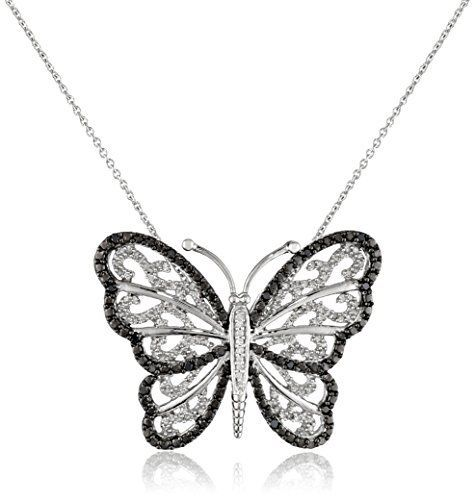 #blackdiamondgem #carbonado Sterling Silver Black and White Diamond Butterfly Pendant Necklace (1/3 cttw),18″ by Amazon Collection - See more at: http://blackdiamondgemstone.com/jewelry/necklaces/pendants/sterling-silver-black-and-white-diamond-butterfly-pendant-necklace-13-cttw18-com/#sthash.erQruknw.dpuf