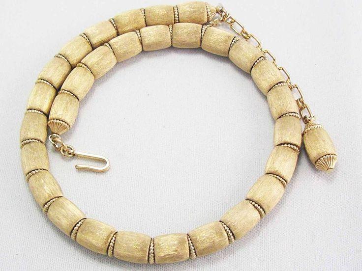 VINTAGE Designer signed TRIFARI Gold Satin Brushed Oval Bead Necklace ~CLASSY  #Trifari