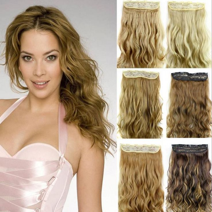 Ondulata lunga 5 clip in estensione, nero/marrone/biondo estensioni dei capelli sintetici, capelli in fibra di kanekalon perucas