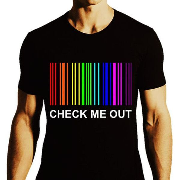 Check Me Out LGBT Pride Gay Shirt Gay Men Gay Guys Gay Pride ($20) ❤ liked on Polyvore featuring men's fashion, men's clothing, men's shirts, men's t-shirts, mens checkered shirts, mens t shirts and mens checked shirts