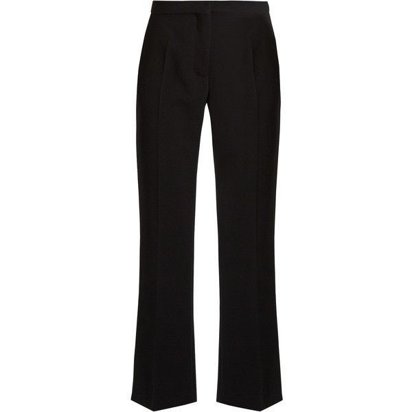 Altuzarra Nettle mid-rise kick-flare trousers (€525) ❤ liked on Polyvore featuring pants, black, waterfall leather jackets, genuine leather jackets, waterfall jacket, 100 leather jacket and real leather jackets