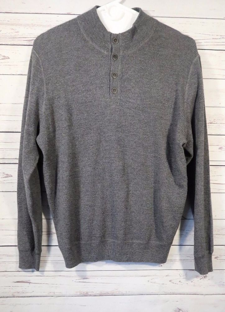 Men S Jos A Bank Gray Mock Turtleneck 4 Buttons Merino Wool Blend Sweater Large Fashion Clothing Shoes Accessories Mensclothing Swea Sweaters Half Zip Sweaters Wool Blend