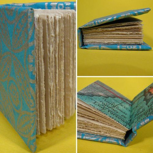 Making a mini notebookBookbinding, Old Book, Pretty Notebooks, Homemade Notebooks, Neat Notebooks, Notebooks Crafts, Book Binding, Crafts To Do, Minis Notebooks