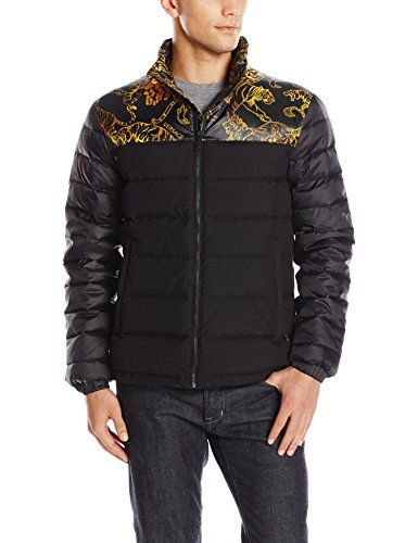 "Versace Jeans partially printed black puffer jacket   	 		 			 				 					Famous Words of Inspiration...""Life is what happens to you while you're busy making other plans.""					 				 				 					John Lennon 						— Click here for more from John...  More details at https://jackets-lovers.bestselleroutlets.com/mens-jackets-coats/active-performance/down-down-alternative/product-review-for-versace-jeans-mens-jeans-puffer-jacket/"