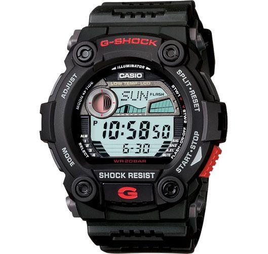 Casio Men's Black Rescue Tide Graph Moon Data Alarm Chrono G Shock Watch Drivers Water Resistant