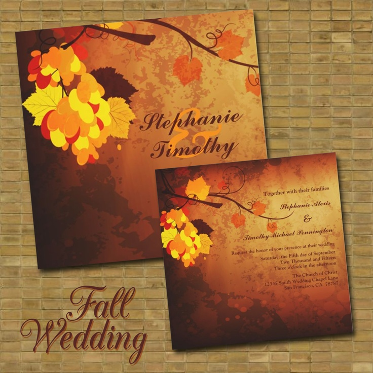 Fall Themed Wedding Invitations: 101 Best Images About Fall Or Autumn Weddings On Pinterest